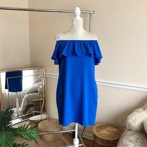 MIKI Blue Off Shoulder Ruffle Dress S